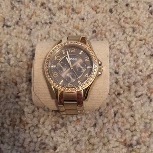 Gold and Brown Fossil Watch
